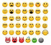 stock photo of eye-wink  - Set of 41 emoticons smiles faces with different moods - JPG