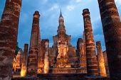 Sukhothai Historical Park At Twilight poster