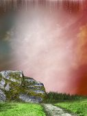 foto of stairway to heaven  - stairway in a fatasy landscape with grass - JPG