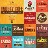 image of cream cake  - Set of vintage retro bakery labels and logo badges - JPG