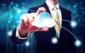 Business Man With Blue Cloud Computing Concept poster