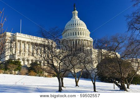Capitol Building in a snowy winter day - Washington DC - USA