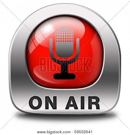 live on air radio live stream broadcasting red icon