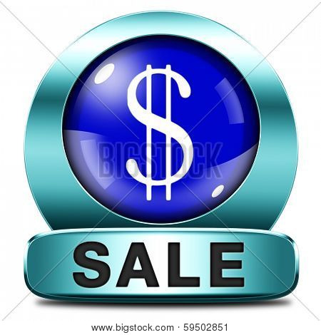 sales summer or winter sale lowest price and best bargain at sales. A hot special reduction deal. blue button or icon