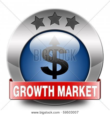 growth market blue icon economy growing emerging economies in international and global leading countries