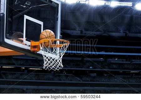 Large basketball arena with copy space