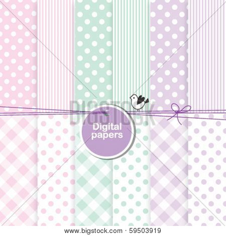 baby shower design elements - backgrounds for cards, scrapbook, album, invitation,