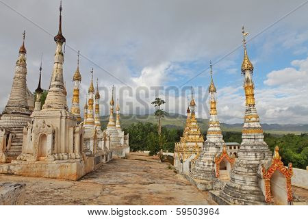 Buddhist pagodas at Indein, Inle Lake, Shan state, Myanmar