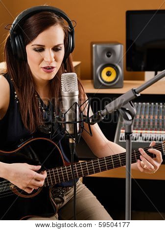 Woman In A Recording Studio