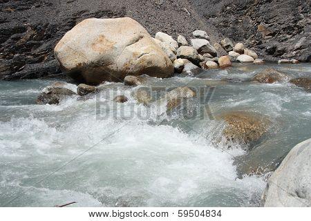 Cascades of a mountain river