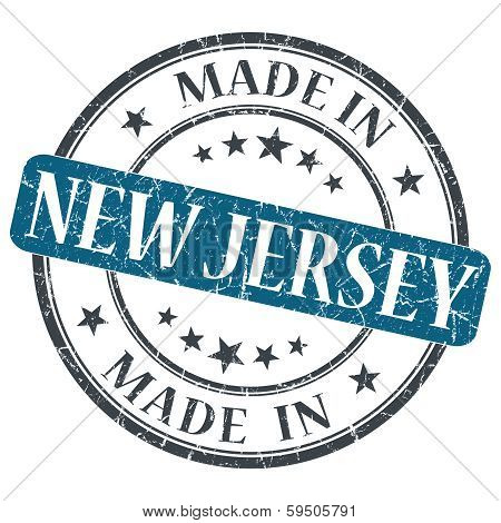 Made In New Jersey Blue Round Grunge Isolated Stamp