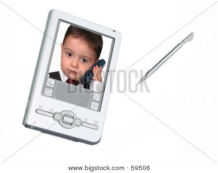 Digital PDA Camera & Stylus Over White