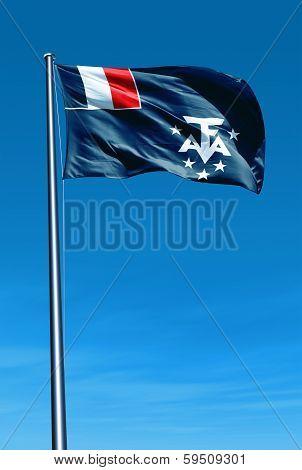 Adelie Land (FRANCE) flag waving on the wind