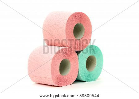 Three colorful toilet paper rolls