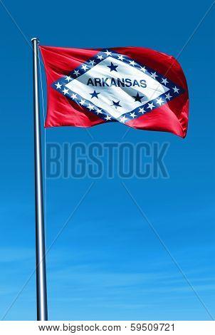 Arkansas (USA) flag waving on the wind