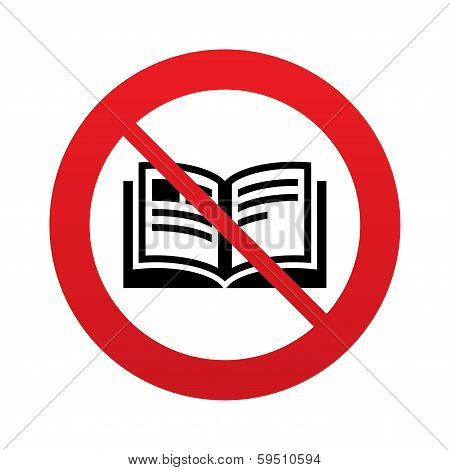 No Book sign icon. Open book symbol.