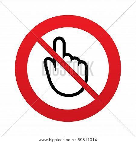 No Hand cursor sign icon. Hand pointer symbol.