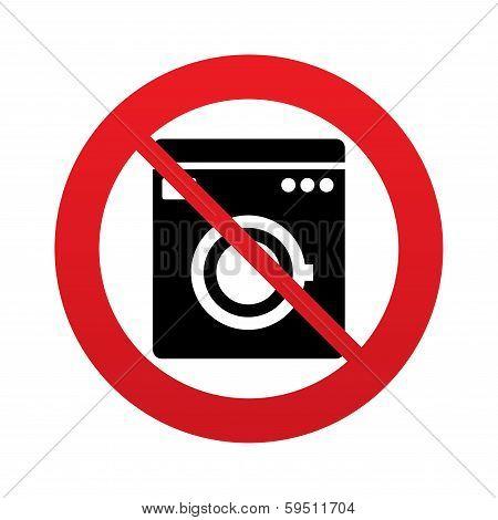 No Washing machine icon. Home appliances.