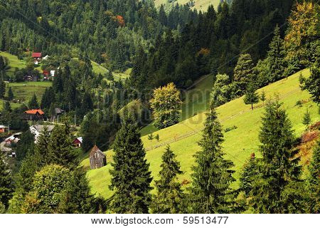 Mountain village in Maramures, Romania, Europe