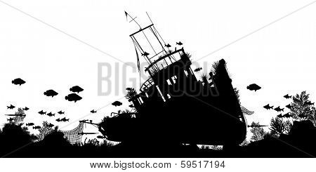 Illustrated silhouette foreground of coral and fish around a sunken boat