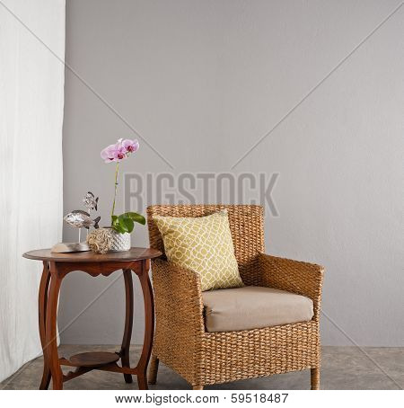 Rattan Sofa Chair In A Lounge Setting