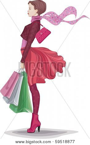 Young woman with bunch of shopping bags isolated on white