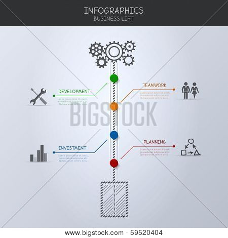 Infographic. Business lift concept.