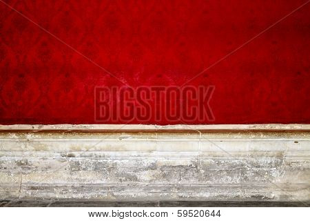 Empty Room Interior With Red Patterned Wallpaper