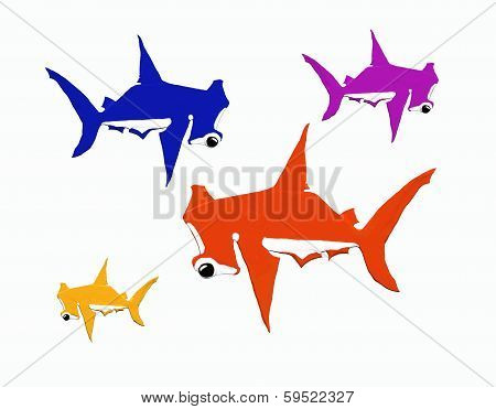 Four hummer sharks