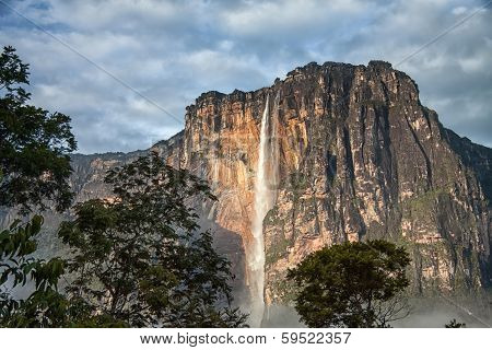 Close-up of Angel Falls in the morning light