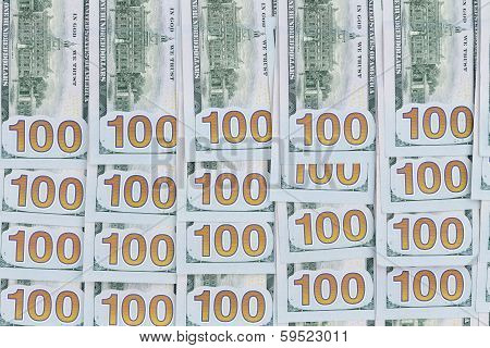 Neatly Arranged Background Of 100 Dollar Bills