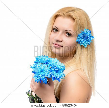 Young Beautiful Blonde Girl With Blue Flowers