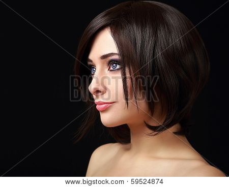 Woman Face Profile With Short Black Hair