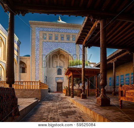 Yard of ancient mosque in the city of Itchan Kala, Khiva, Uzbekistan