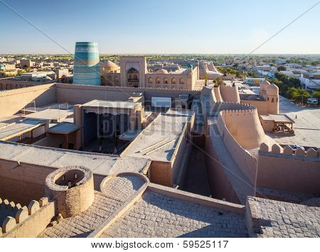 Ancient city of Itchan Kala at sunny day, Khiva, Uzbekistan