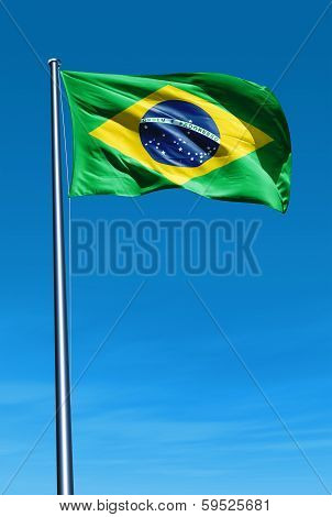 Brazil flag waving on the wind