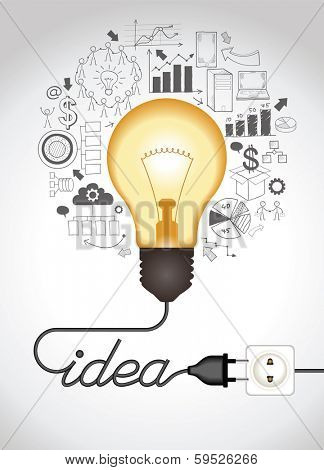 Concept of productive business ideas. Lightbulb with drawing graphics around. Lamp is plugged. Cable forms a word idea. The file is saved in the version AI10 EPS. This image contains transparency.