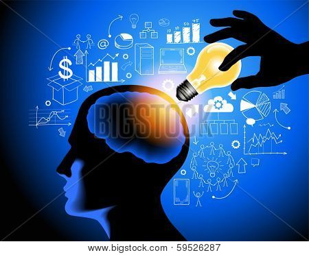 Giving Idea. Good Decision Concept. Pass �?�¢?? Illustration. Hand with lamp and a head with a brain surrounded by sketches of icons. Help ideas. The file is saved in the version AI10 EPS.