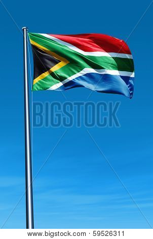 South Africa flag waving on the wind