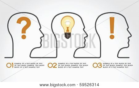 Background infographics with human heads, icons and text. Business concept - the problem, the idea and success.