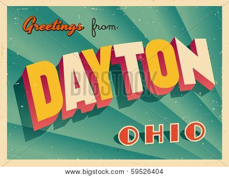 Vintage Touristic Greeting Card - Dayton, Ohio - Vector EPS10. Grunge effects can be easily removed for a brand new, clean sign.
