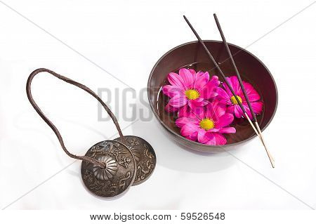 Oriental Health Treatment: Tingsha, Tibetan Bowl And Incense.