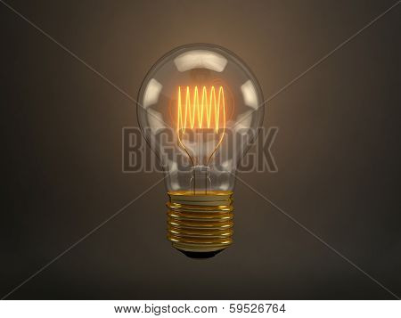 Vintage Light Bulb With Glowing Filament Over Dark Brown Background