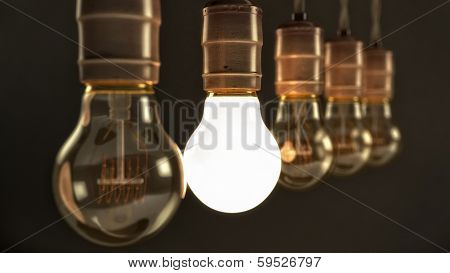 Vintage Incandescent Light Bulbs With One Illuminated