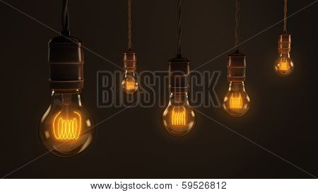 Quintet Of Vintage Light Bulbs