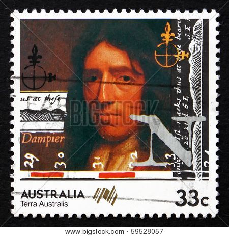 Postage Stamp Australia 1985 William Dampier, British Explorer