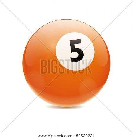 Hyperrealistic Billiard Ball. Detailed vector illustration of orange number 5 cue sports ball isolated on white