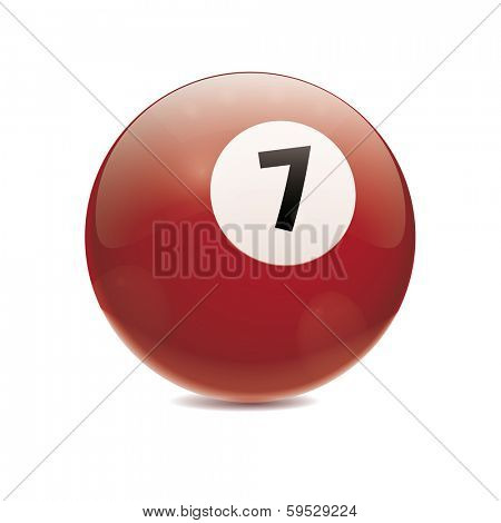 Hyperrealistic Billiard Ball. Detailed vector illustration of brown number 7 cue sports ball isolated on white