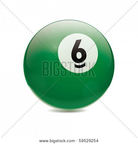 Hyperrealistic Billiard Ball. Detailed vector illustration of green number 6 cue sports ball isolated on white