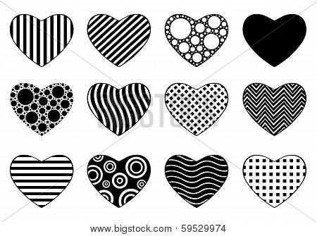 Set of different hearts